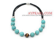 Round Turquoise and Tiger Eye Leather Necklace Is Sold