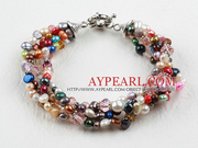 Multi Color Freshwater Pearl Bracelet with Moonlight Clasp